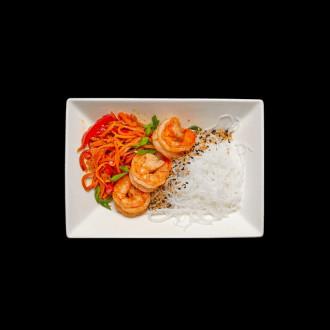 Салат фунчоза з креветкою